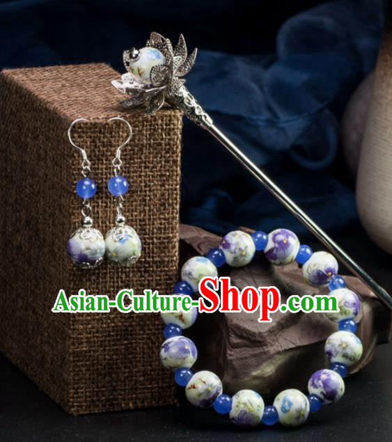 Chinese Traditional Hanfu Hair Accessories Ancient Ceramics Beads Hairpins and Bracelet Earrings for Women