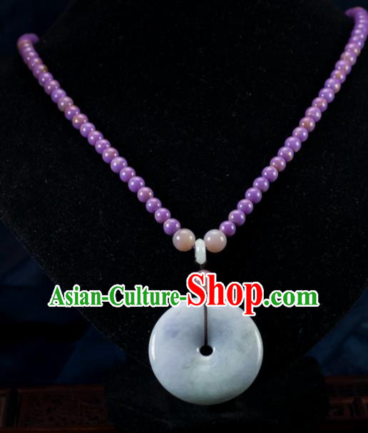 Chinese Traditional Jewelry Accessories Necklace Ancient Hanfu Jadeite Necklet for Women