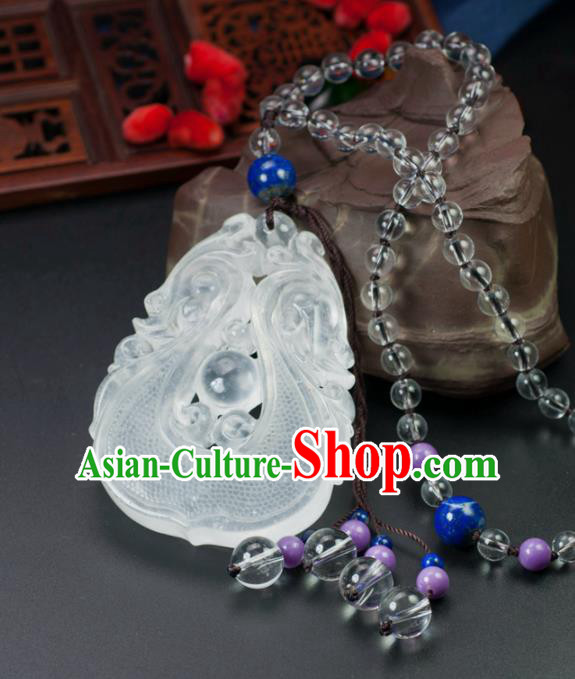 Chinese Traditional Jewelry Accessories Carving Dragon Jade Necklace Handmade Jadeite Pendant