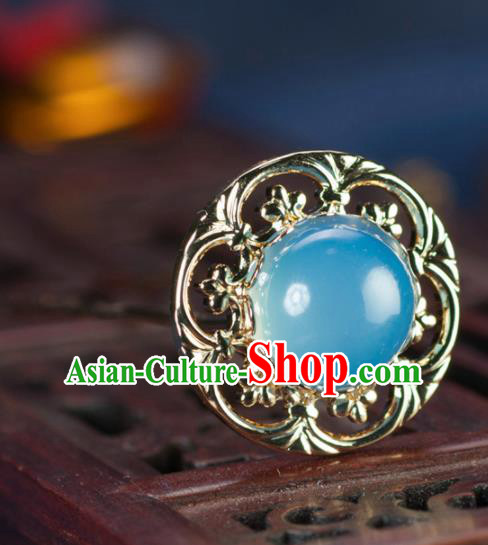 Chinese Traditional Hanfu Blue Hair Clip Hair Accessories Ancient Classical Hairpins for Women