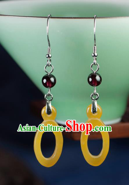 Chinese Traditional Jewelry Accessories Ancient Hanfu Huanglong Jade Earrings for Women