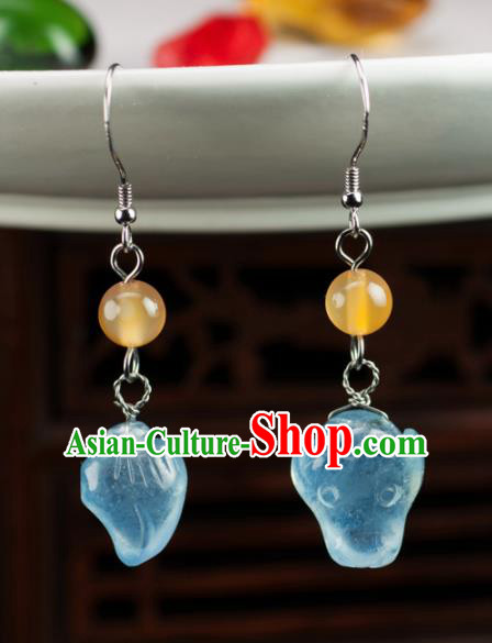 Chinese Traditional Jewelry Accessories Jadeite Earrings Ancient Hanfu Carving Eardrop for Women