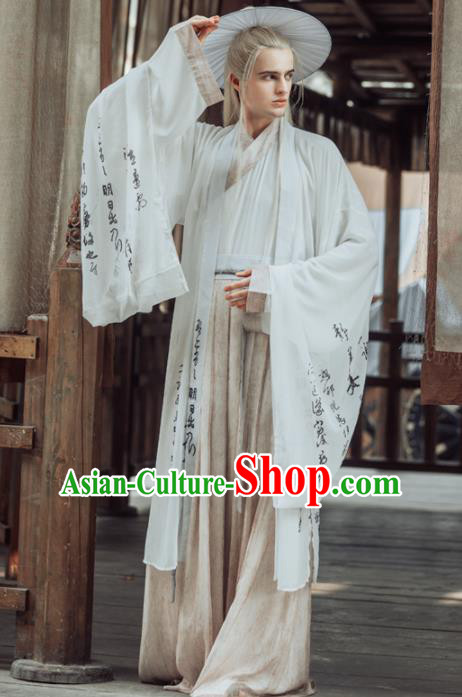 Chinese Ancient Jin Dynasty Nobility Childe Clothing Traditional Swordsman Embroidered Costumes for Men