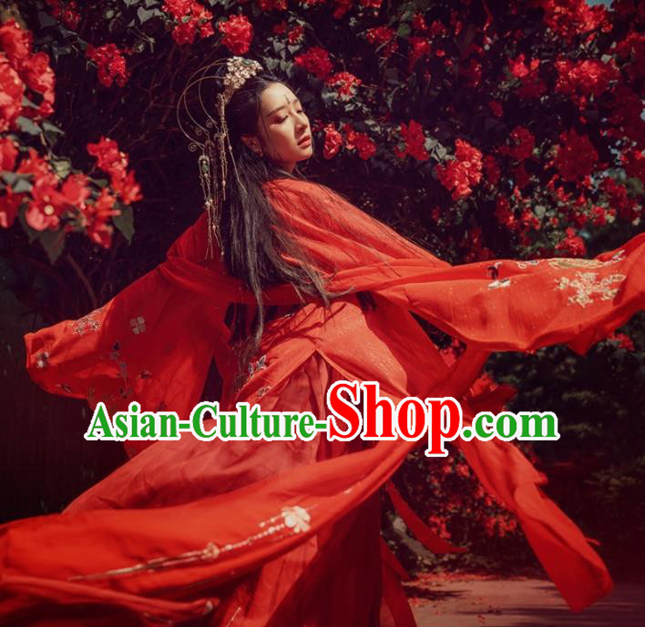 Chinese Ancient Peri Wedding Hanfu Dress Traditional Princess Embroidered Costumes for Women