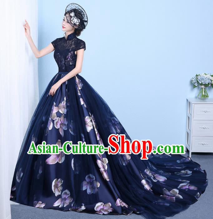 Chinese Classical Catwalks Costumes Traditional Cheongsam Wedding Navy Lace Trailing Full Dress for Women