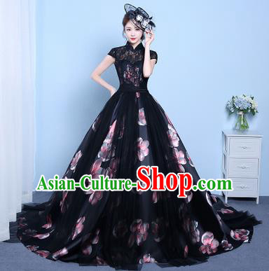Top Performance Catwalks Costumes Wedding Dress Black Lace Trailing Full Dress for Women