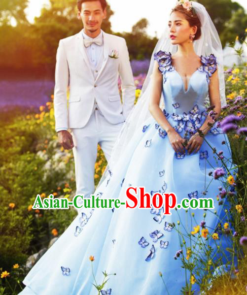 Top Performance Catwalks Costumes Wedding Dress Blue Trailing Full Dress for Women