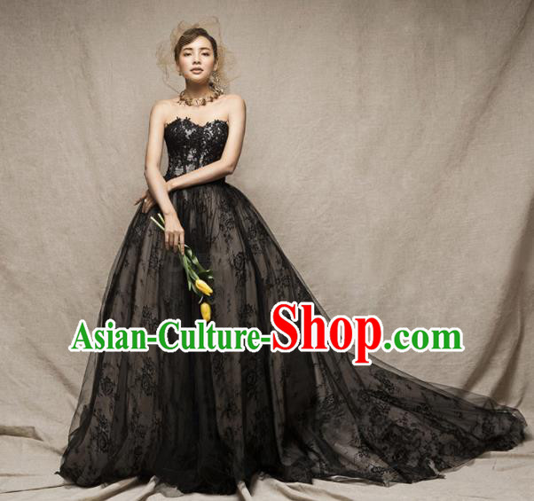 Top Performance Catwalks Costumes Wedding Dress Black Lace Full Dress for Women