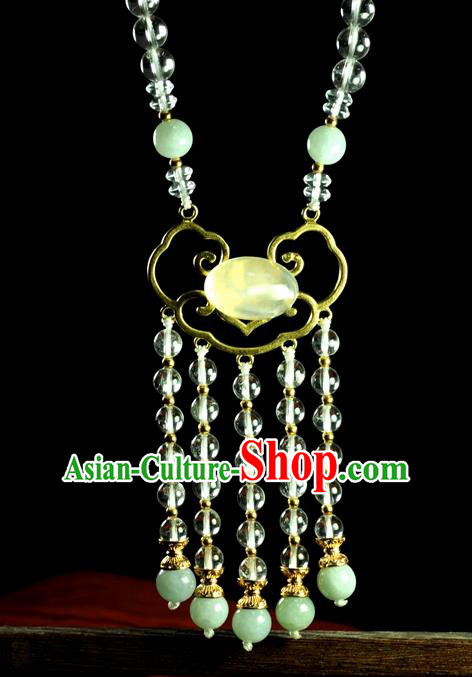 Chinese Traditional Jade Jewelry Accessories Ancient Hanfu Tassel Necklace for Women