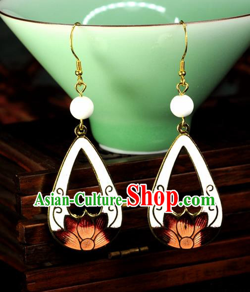 Chinese Traditional Jade Jewelry Accessories Ancient Hanfu Cloisonne White Lotus Earrings for Women