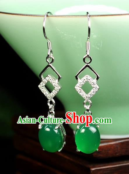 Chinese Traditional Jewelry Accessories Ancient Hanfu Green Jadeite Earrings for Women