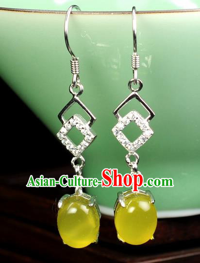 Chinese Traditional Jewelry Accessories Ancient Hanfu Yellow Jadeite Earrings for Women