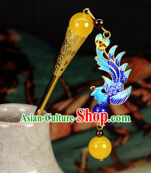 Chinese Traditional Hanfu Hair Clip Hair Accessories Ancient Classical Cloisonne Phoenix Tassel Hairpins for Women