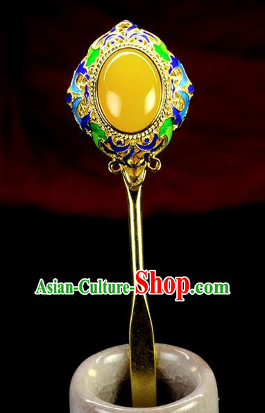 Chinese Traditional Hanfu Cloisonne Hair Clip Hair Accessories Ancient Classical Jade Hairpins for Women