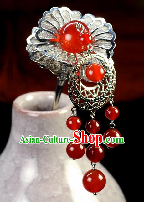 Chinese Traditional Hanfu Agate Hair Clip Hair Accessories Ancient Classical Tassel Hairpins for Women