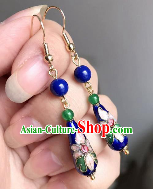 Chinese Traditional Jewelry Accessories Ancient Hanfu Cloisonne Blue Earrings for Women