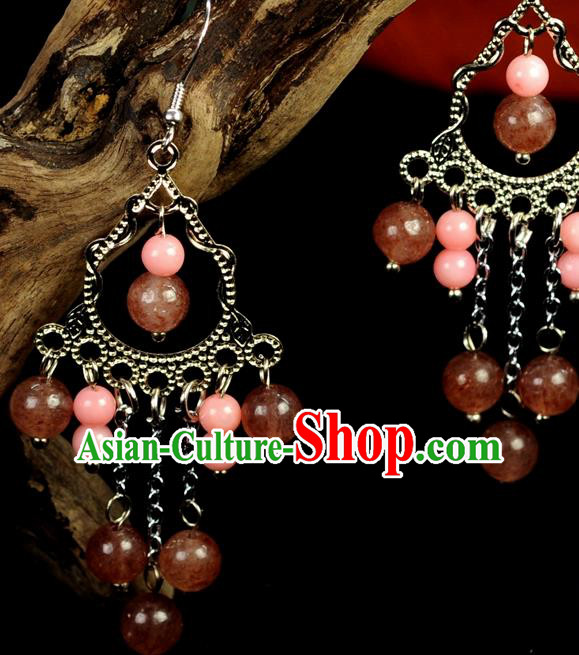 Chinese Traditional Jewelry Accessories Ancient Hanfu Pink Beads Earrings for Women