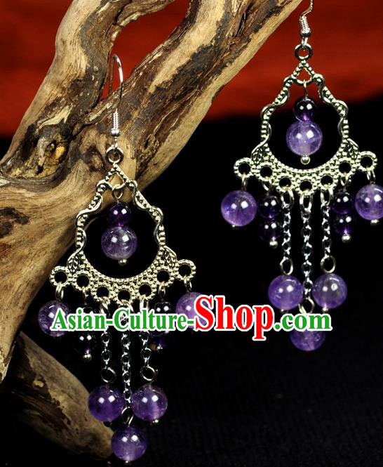 Chinese Traditional Jewelry Accessories Ancient Hanfu Purple Beads Earrings for Women