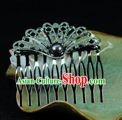 Chinese Traditional Hanfu Black Pearl Hair Comb Hair Accessories Ancient Classical Hairpins for Women