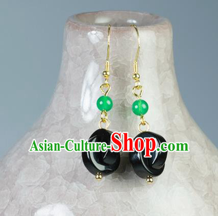 Chinese Traditional Jewelry Accessories Ancient Hanfu Black Earrings for Women
