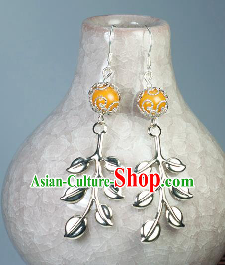 Chinese Traditional Jewelry Accessories Ancient Hanfu Orange Bead Earrings for Women