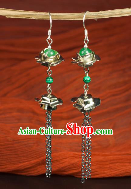 Chinese Traditional Jewelry Accessories Ancient Hanfu Green Bead Earrings for Women