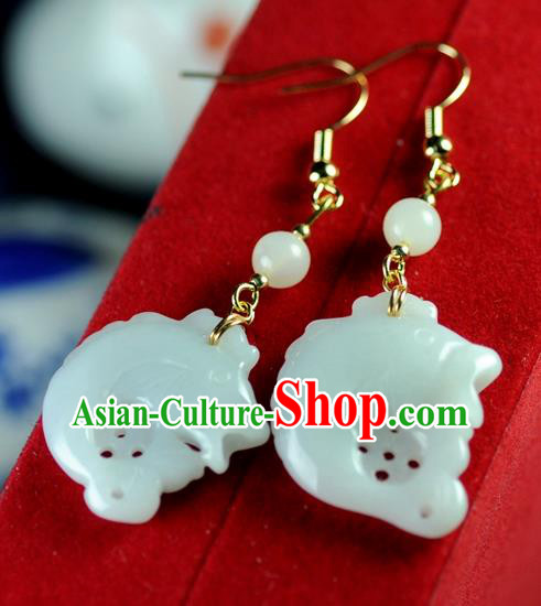 Chinese Traditional Jewelry Accessories Ancient Hanfu Jade Carp Earrings for Women