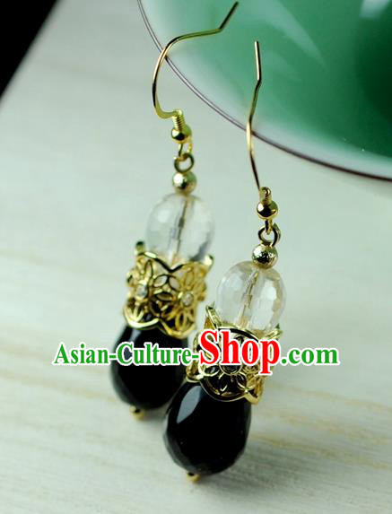 Chinese Traditional Jewelry Accessories Ancient Hanfu Crystal Earrings for Women