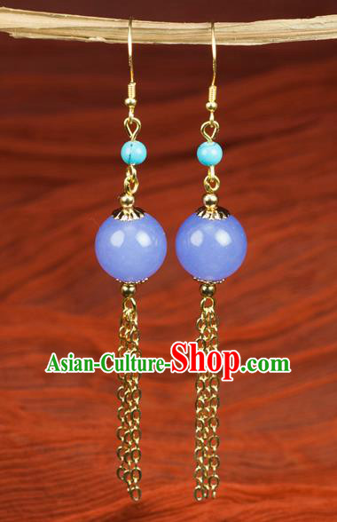 Chinese Traditional Jewelry Accessories Ancient Hanfu Purple Bead Earrings for Women