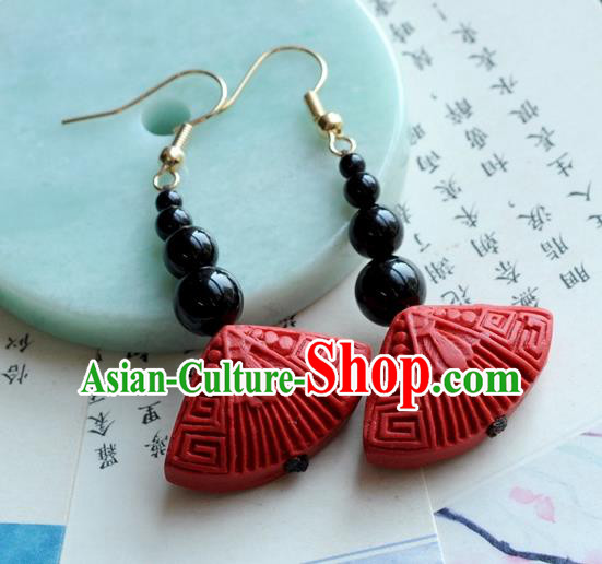 Chinese Traditional Jewelry Accessories Ancient Hanfu Red Lacquerware Earrings for Women