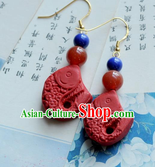 Chinese Traditional Jewelry Accessories Ancient Hanfu Red Lacquerware Carp Earrings for Women