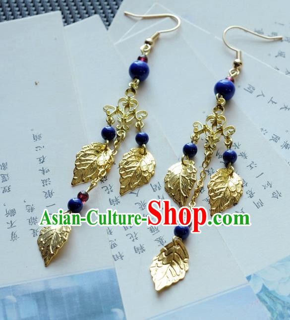 Chinese Traditional Jewelry Accessories Ancient Hanfu Golden Leaf Tassel Earrings for Women