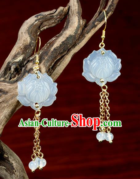 Chinese Traditional Jewelry Accessories Ancient Hanfu Jade Carving Lotus Earrings for Women