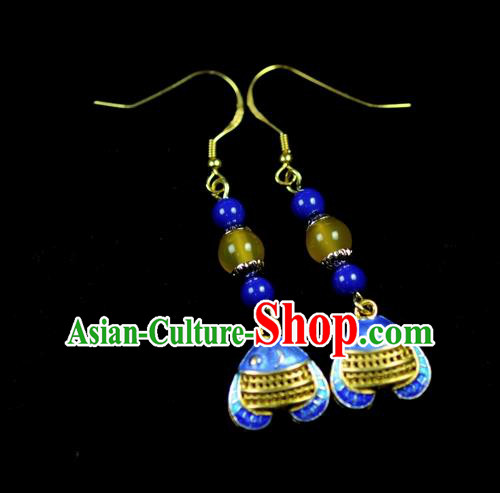 Chinese Traditional Jewelry Accessories Ancient Hanfu Blueing Fish Earrings for Women