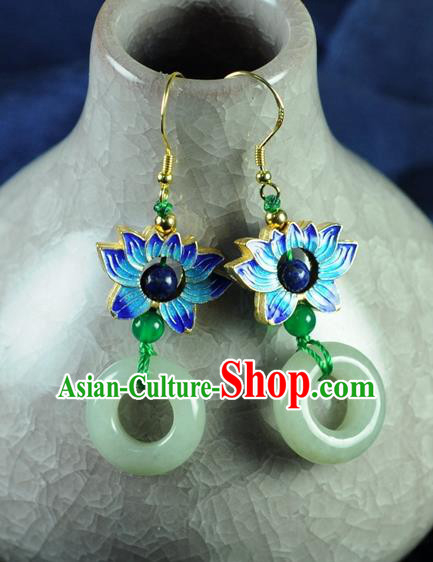 Chinese Traditional Jewelry Accessories Ancient Hanfu Jade Blueing Lotus Earrings for Women