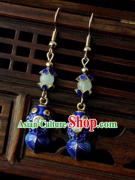 Chinese Traditional Jewelry Accessories Ancient Hanfu Blueing Carp Earrings for Women