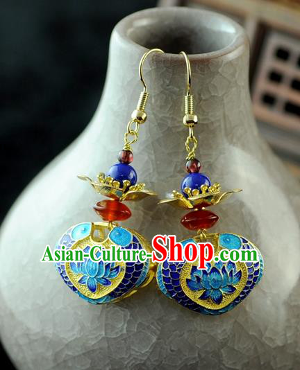 Chinese Traditional Blueing Lotus Jewelry Accessories Ancient Hanfu Earrings for Women