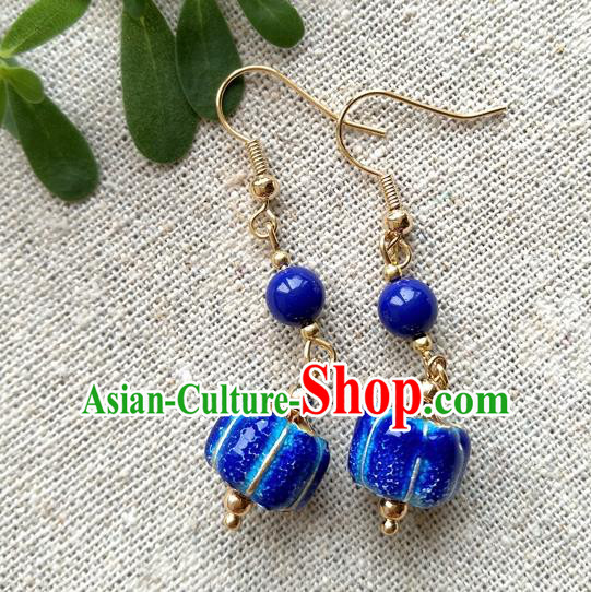 Chinese Traditional Blueing Pumpkin Jewelry Accessories Ancient Hanfu Earrings for Women