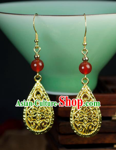 Chinese Traditional Jewelry Accessories Ancient Hanfu Golden Earrings for Women