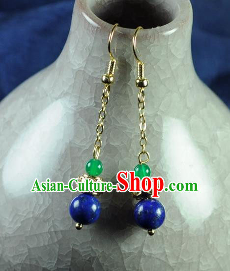 Chinese Traditional Jewelry Accessories Ancient Hanfu Blue Bead Earrings for Women