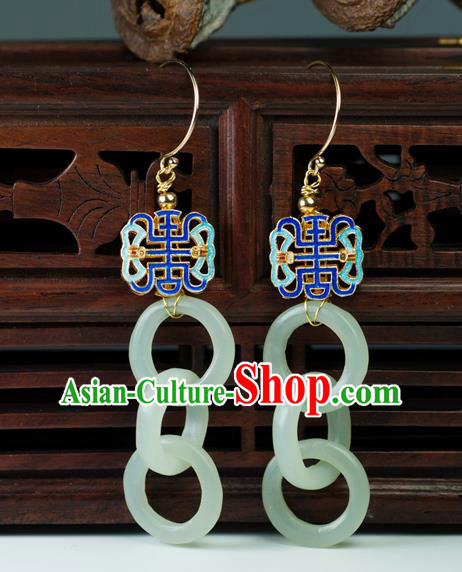 Chinese Traditional Jewelry Accessories Ancient Hanfu Jade Cloisonne Earrings for Women