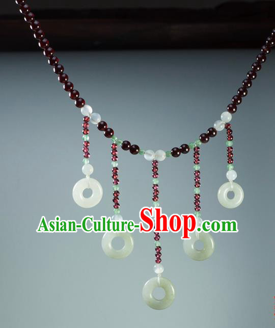 Chinese Traditional Jewelry Accessories Ancient Hanfu Jade Tassel Garnet Necklace for Women