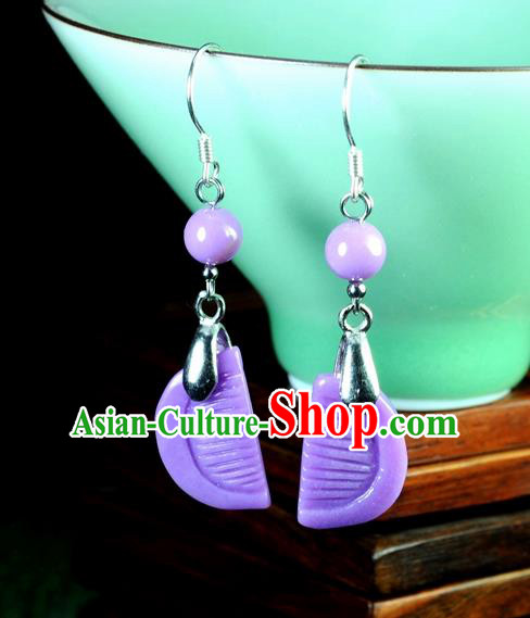 Chinese Traditional Jade Jewelry Accessories Ancient Hanfu Purple Micalex Earrings for Women
