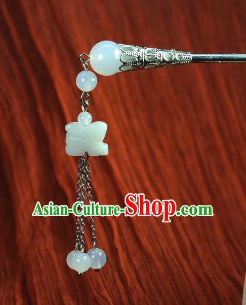 Chinese Traditional Hanfu Jade Tassel Hair Clip Hair Accessories Ancient Classical Hairpins for Women