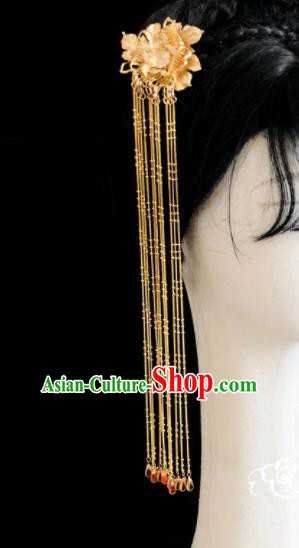 Chinese Classical Hair Accessories Traditional Ancient Hanfu Golden Flowers Hair Clip Hairpins for Women