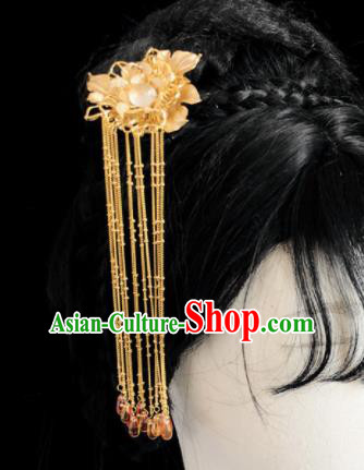 Chinese Classical Hair Accessories Traditional Ancient Hanfu Golden Flowers Hair Clip Tassel Hairpins for Women