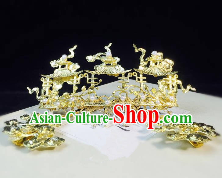 Chinese Classical Hairpins Hair Accessories Traditional Ancient Hanfu Hair Crown for Women