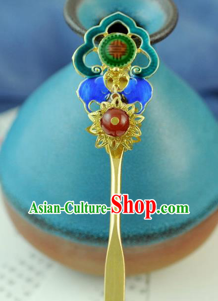 Chinese Traditional Palace Cloisonne Hair Clip Hair Accessories Ancient Classical Hairpins for Women