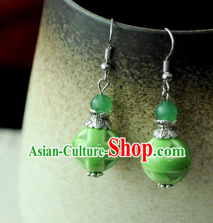Chinese Traditional Jewelry Accessories Ancient Hanfu Green Ceramics Earrings for Women