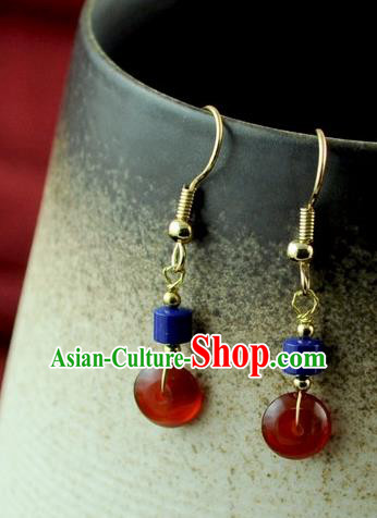 Chinese Traditional Agate Jewelry Accessories Ancient Hanfu Earrings for Women